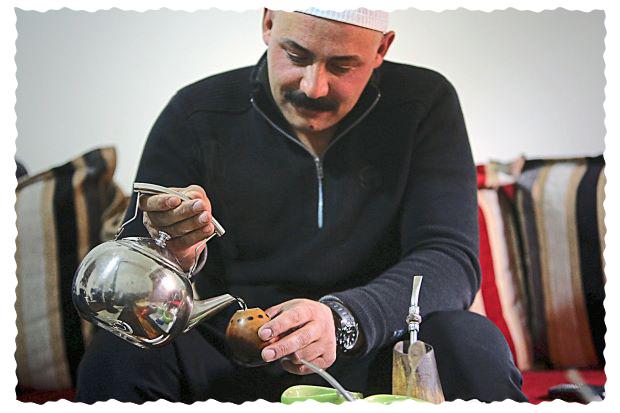 Druze man drinking Yerba Mate