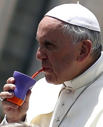 Pope Francis Drinking Yerba Mate